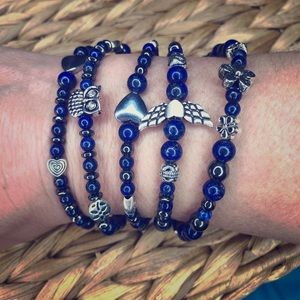 Jewelry - Blue lapis wrap bracelet (hand- made)
